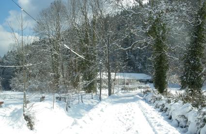 Arrivée sous la neige au Gites du Rasteille