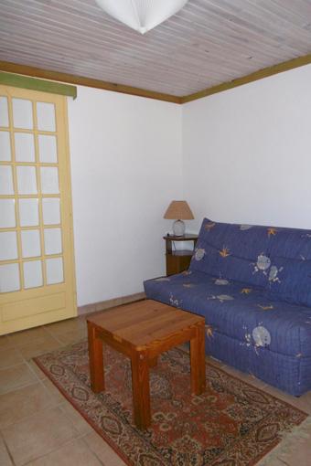 salon avec canapé, télévision et internet du gîte L'orée du bois